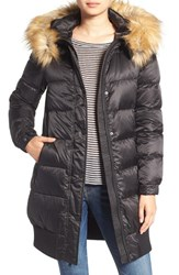 7 For All Mankindr Women's Mankind Quilted Coat With Removable Faux Fur Trim Hood Black