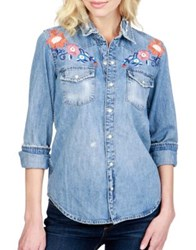 Lucky Brand Embroidered Cotton Denim Shirt Blue