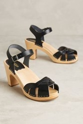 Anthropologie Swedish Hasbeens Kringlan Clogs Black 36 Euro Wedges