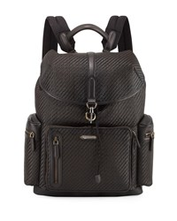 Ermenegildo Zegna Pelle Tessuta Leather Backpack Brown
