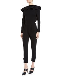 Johanna Ortiz Feel Me Ruffle Neck Open V Back Long Sleeve Skinny Wool Jumpsuit Black