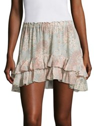 Loveshackfancy Kara Tiered Silk Georgette Skirt Mint