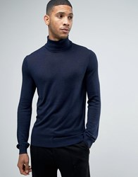 Kiomi Roll Neck Jumper In Fine Knit Navy