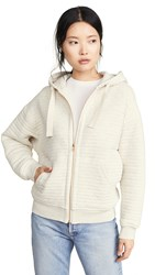 Atm Anthony Thomas Melillo Quilted Zip Up Hoodie Heather Oatmeal