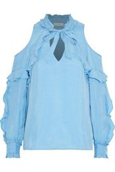 Sandro Rise Cold Shoulder Ruffled Satin Twill Blouse Sky Blue
