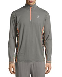 Psycho Bunny Quarter Zip Performance Jacket Gunmetal