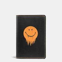Coach Gnarly Face Card Wallet In Glovetanned Leather Black