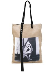 Raf Simons Photographic Tote Bag Men Hemp One Size Nude Neutrals