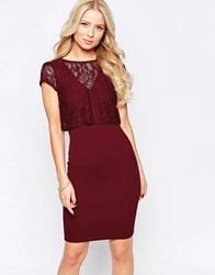 Jessica Wright Sushita Dress With Lace Top Overlay Berry Red
