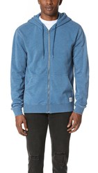 Rvca Label Sun Wash Zip Hoodie Dark Blue