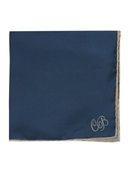 Chester Barrie Silk String Border Square Handkerchiefs Blue