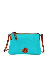 Dooney And Bourke Leather Trimmed Crossbody Pouchette Aqua