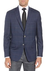 Hart Schaffner Marx Big And Tall Classic Fit Stretch Check Wool Sport Coat Mid Blue