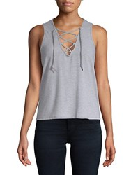 Betsey Johnson Bleach Washed Tank Top Light Heather