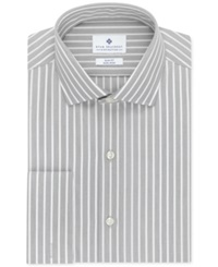 Ryan Seacrest Distinction Non Iron Slim Fit Stripe French Cuff Shirt Charcoal