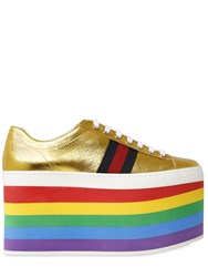 Gucci 140Mm Peggy Metallic Leather Sneakers