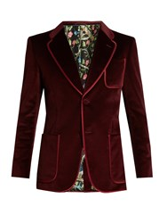 Gucci Single Breasted Brushed Velvet Blazer Burgundy