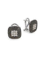 Effy 0.96 Tcw Black And White Diamond And 14K White Gold Stud Earrings