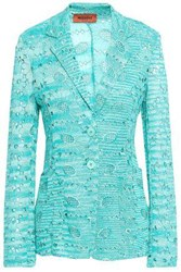 Missoni Woman Broderie Anglaise Crochet Knit Blazer Turquoise