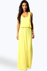 Boohoo Racer Back Maxi Dress Yellow