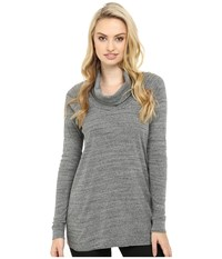 Three Dots Mimi Long Sleeve Funnel Neck Tunic Charcoal Women's Clothing Gray