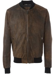 Dolce And Gabbana Leather Bomber Jacket Brown