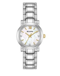 Bulova Diamonds 0.01Ct. And Stainless Steel Bracelet Watch 98P164 Silver