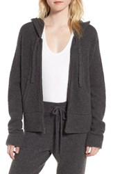 James Perse Women's Brushed Cashmere Zip Hoodie Charcoal