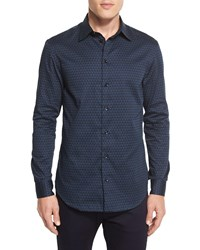 Armani Collezioni Triangle Print Woven Sport Shirt Teal Black