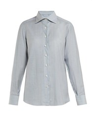 Giuliva Heritage Collection The Elvira Striped Wool Shirt Blue Multi