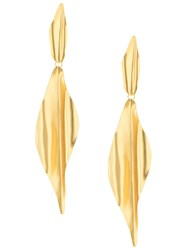 Mercedes Salazar Long Textured Earrings Gold