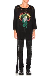 Unravel Distressed Snake Boxy Tee In Black