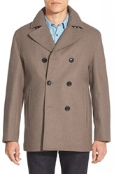 Men's Michael Kors Wool Blend Double Breasted Peacoat Toast Heather