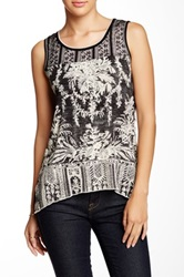 Vanilla Sugar Carly Print Sharkbite Tank Petite Black