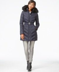 Dkny Faux Fur Trim Belted Quilted Parka Navy