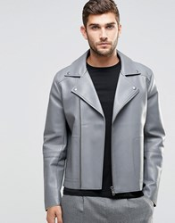 Asos Leather Look Biker Jacket With Raw Edge Detail In Grey Grey