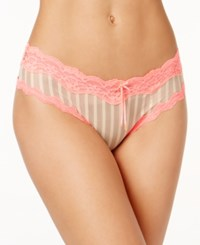 Heidi Klum By Mesh And Lace Striped Cheeky Hipster H309 1181B Only At Macy's Toasted Almond Neon Flamingo