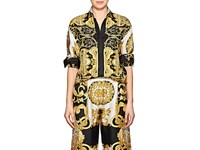 Versace Baroque Print Twill Blouse Gold