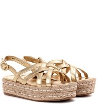 Prada Leather Espadrille Sandals Gold