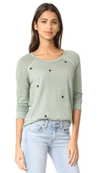 Sundry Star Patches Sweatshirt Olive