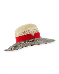 Marzi Patterned Straw Sun Hat Red Neutral