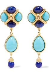 Ben Amun Gold Plated Enamel And Beaded Clip Earrings Turquoise