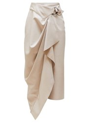 Isabel Marant Fiova Draped Leather Midi Skirt Ivory