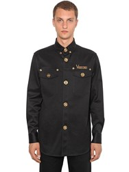 Versace Gabardine Stretch Cotton Shirt Jacket Black