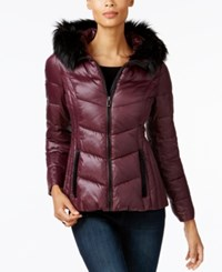 Inc International Concepts Faux Fur Trim Puffer Coat Created For Macy's Merlot Black