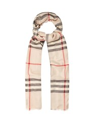 Burberry House Check Wool And Silk Blend Scarf Beige