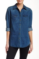 Angie Denim Button Up Shirt Blue
