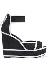 Pierre Hardy Leather Trimmed Denim Wedge Sandals Blue