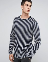 Celio Long Sleeve Breton Striped Top Navy