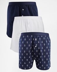 Asos 3 Pack Jersey Boxer With Anchor Print Blue